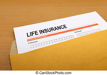 life Insurance application form on brown envelope