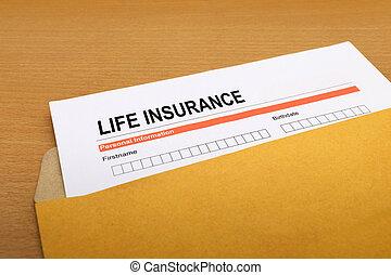 life Insurance application form on brown envelope