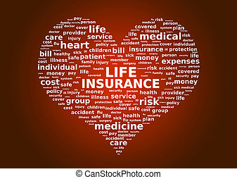 Life insurance concept. Cloud tags over red background.