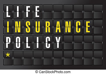 life insurance concept sign on airport board