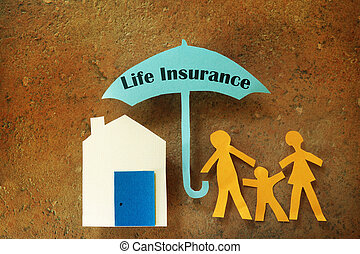 Life Insurance family - Paper cutout family with house under...