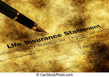 Life insurance form grunge concept