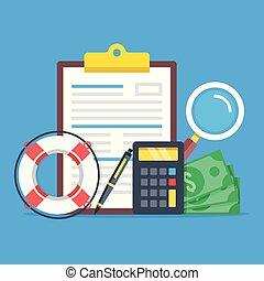 Life insurance. Insurance policy, lifebuoy, calculator,...