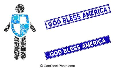 Life Insurance Mosaic and Grunge Rectangle God Bless America Stamp Seals