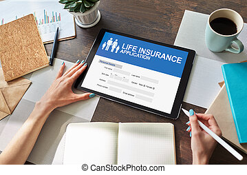 Life insurance online application form on device screen