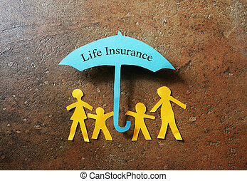 Life Insurance paper family - Paper family of four under a...