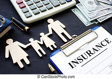 Life insurance. Policy and figures of family.