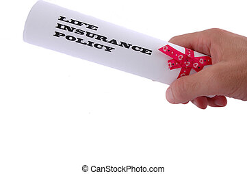 Life insurance policy in the hand on white background