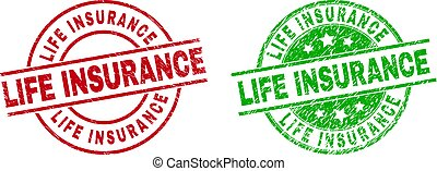 LIFE INSURANCE Round Seals Using Grunged Style