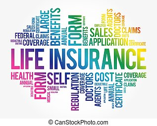 LIFE Insurance word cloud collage