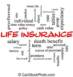 Life Insurance Word Cloud Concept on a Blackboard with great...