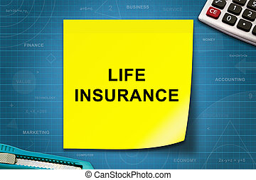 life insurance word on yellow note