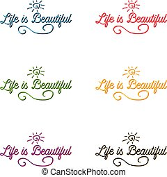 Life is beautiful postcard. Set. Positive lettering. Ink illustration.