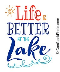 Life is Better at the Lake typography vector poster design card with colorful sun and waves accents on white background