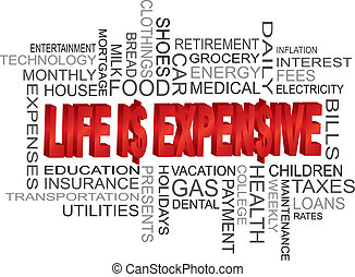 Life is Expensive Word Cloud - Life is Expensive 3D Word...