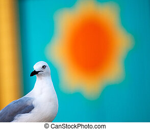 A seagull and the bright yellow sun painted on a wooden wall behind it