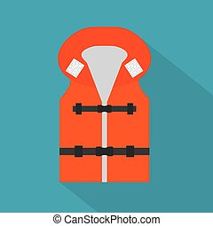 life jacket with reflective elements icon- vector illustration