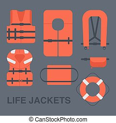 Life jackets types vector flat icons set, Flat design of...