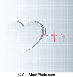 illustration of life line coming out from heart cutout