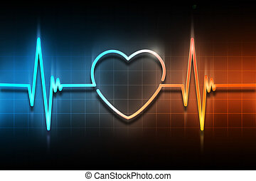life line - line of the pulse with the symbol of the heart