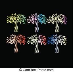 life., lutning, stilig, tryck, kollektion, träd