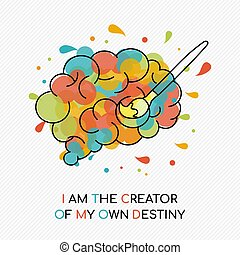 Life motivation quote concept of human brain - I am the...