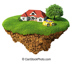 Life of a dream. Lawn with house, tree and sports car. Fancy...