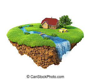 Life of a dream. Lawn with house, river, waterfall, tree and...