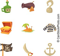 Life of a pirate icons set, cartoon style