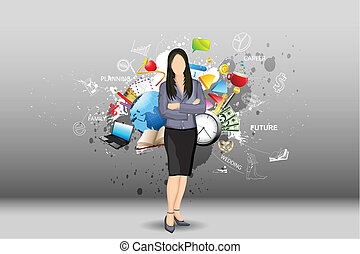 illustration of standing businesslady with object all around