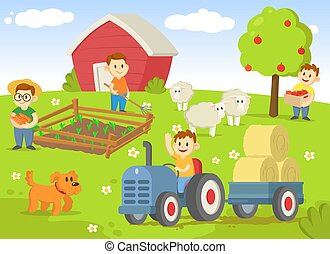 Life on a farm with field, trees, tractor, shed, and animals. Flat vector illustration, isolated on white background.