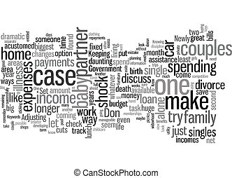 Life On One Income text background wordcloud concept