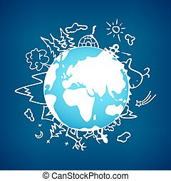 Life out of a civilization on the globe. Vector illustration