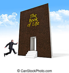 life - jumping businessman and book of life