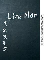 LIFE PLAN phrase written in chalk on the blackboard.