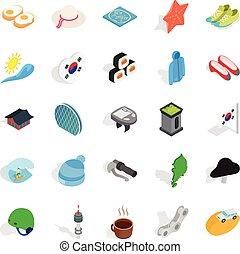 Life position icons set, isometric style