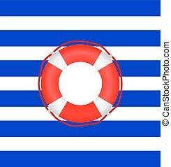 life preserver on a background of stripes