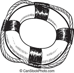 Life preserver sketch - Doodle style life preserver in...