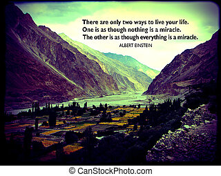 Quote about life by Albert Einstein, pictured on a Himalayan mountain background (photo taken in Turtuk, Ladakh, India)