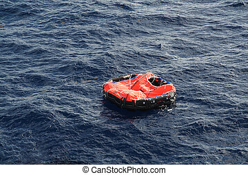 Life Raft adrift in mid Atlantic