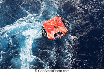 Life Raft - Life raft adrift in mid ocean