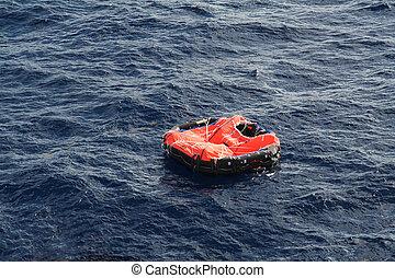 Life Raft adrift in mid Atlantic