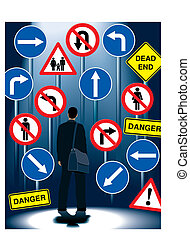 A businessman is standing in front of road signs, vector illustration.