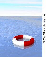Life ring in ocean. 3d rendered illustration.