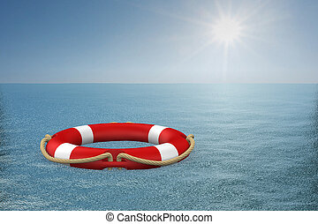 life ring on water. 3d illustration