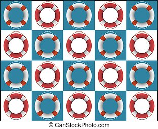Life Ring Squares Background - A life rings on blue and...