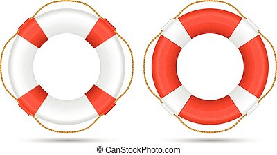 White and red life rings - life buoys vector illustration