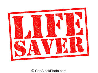 LIFE SAVER red Rubber Stamp over a white background.