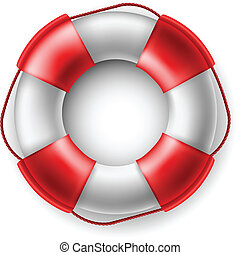 Life saver - White and red Life saver with rope isolated on...