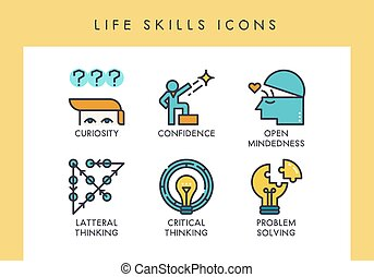 LIfe skills icons - Life skill concept icons for web, app,...